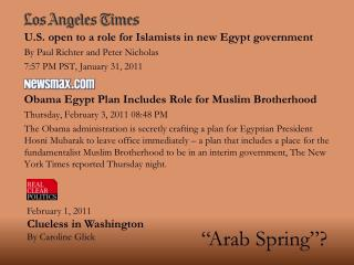 U.S. open to a role for Islamists in new Egypt government By Paul Richter and Peter Nicholas