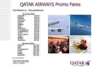 QATAR AIRWAYS Promo Fares