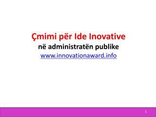 Çmimi për  Ide  I novative në administratën publike innovationaward