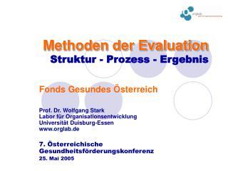 Methoden der Evaluation Struktur - Prozess - Ergebnis
