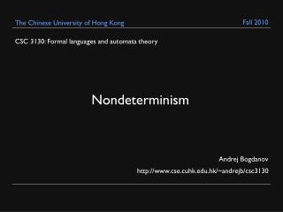 CSC 3130: Formal languages and automata theory