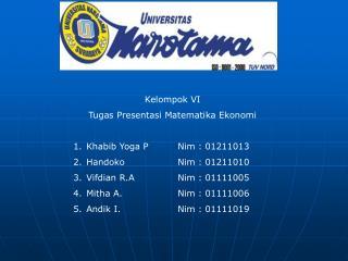 Kelompok VI Tugas Presentasi Matematika Ekonomi Khabib Yoga PNim : 01211013