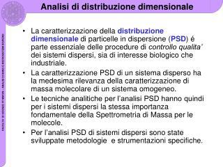 Analisi  di distribuzione dimensionale