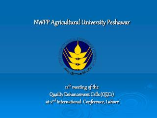 NWFP Agricultural University Peshawar 12 th  meeting of the  Quality Enhancement Cells (QECs)