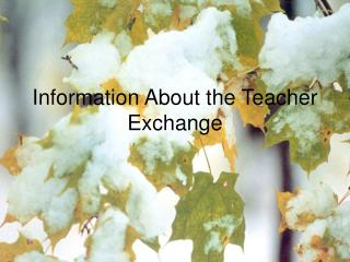Information About the Teacher Exchange