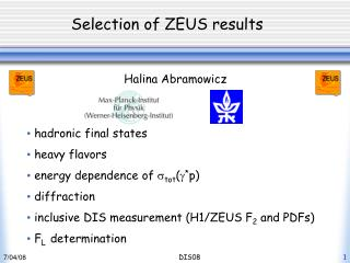 Selection of ZEUS results