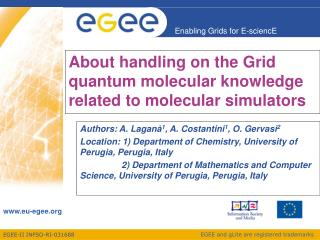 About handling on the Grid  quantum molecular knowledge related to molecular simulators