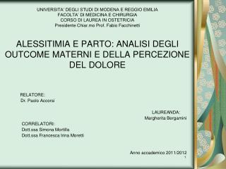 RELATORE:           Dr. Paolo Accorsi