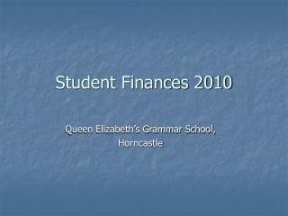Student Finances 2010