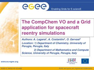 The CompChem VO and a Grid application for spacecraft reentry simulations