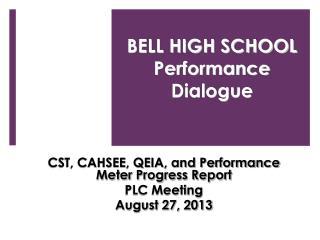 BELL HIGH SCHOOL  Performance Dialogue
