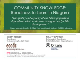 COMMUNITY KNOWLEDGE: Readiness to Learn in Niagara