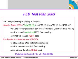 FED Test Plan 2003