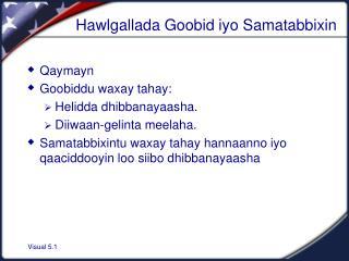 Hawlgallada Goobid iyo Samatabbixin