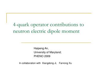 4-quark operator contributions to neutron electric dipole moment