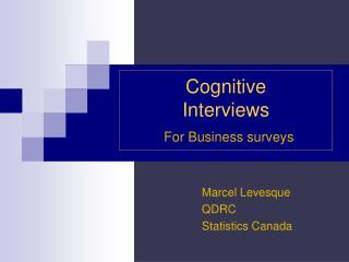 Cognitive  Interviews For Business surveys