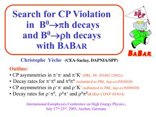 Search for CP Violation  in   B 0 h decays and  B 0 h decays  with  B A B AR