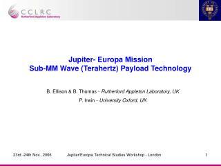Jupiter- Europa Mission Sub-MM Wave (Terahertz) Payload Technology