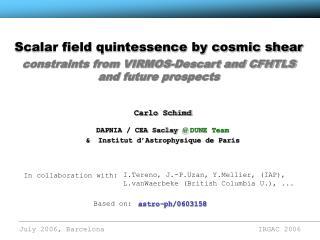 Scalar field quintessence by cosmic shear