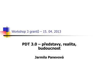 Workshop 3 grantů – 15. 04. 2013