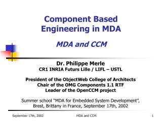 Component Based  Engineering in MDA MDA and CCM