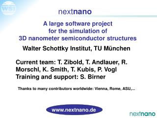 A large software project for the simulation of 3D nanometer semiconductor structures
