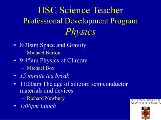 HSC Science Teacher Professional Development Program Physics