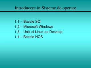 Introducere in Sisteme de operare