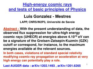 High-energy cosmic rays  and tests of basic principles of Physics Luis Gonzalez - Mestres