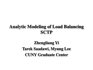 Analytic Modeling of Load Balancing SCTP
