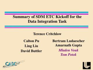 Summary of SDM ETC Kickoff for the Data Integration Task
