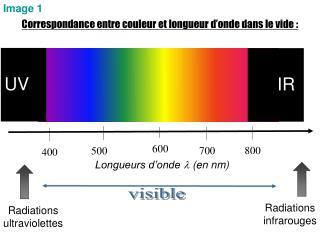Correspondance entre couleur et longueur d onde dans le vide :