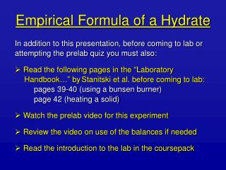 Empirical Formula of a Hydrate