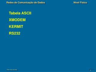 Tabela ASCII XMODEM KERMIT RS232