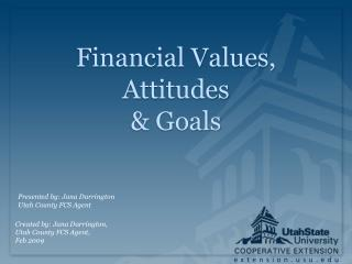 Financial Values, Attitudes   Goals