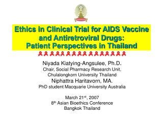 Niyada Kiatying-Angsulee, Ph.D . Chair, Social Pharmacy Research Unit,