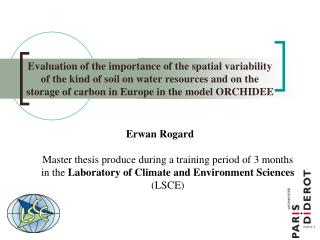 Erwan Rogard Master thesis produce during a training period of 3 months