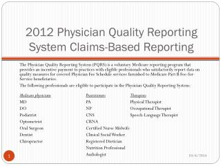 2012 Physician Quality Reporting System Claims-Based Reporting