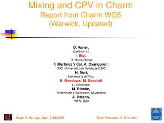 Mixing and CPV in Charm Report from Charm WG5 (Warwick, Updated)