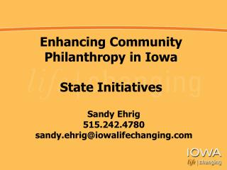 Enhancing Community Philanthropy in Iowa State Initiatives