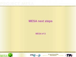MESA next steps