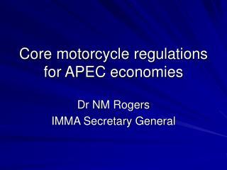 Core motorcycle regulations for APEC economies