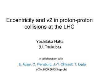 Eccentricity and v2 in proton-proton collisions at the LHC