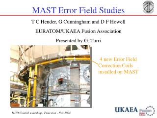 MAST Error Field Studies T C Hender, G Cunningham and D F Howell EURATOM/UKAEA Fusion Association