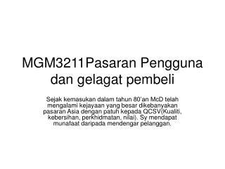 MGM3211Pasaran Pengguna dan gelagat pembeli