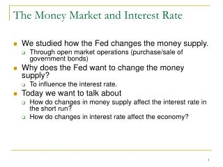 The Money Market and Interest Rate