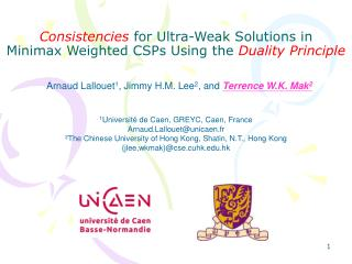 Consistencies  for Ultra-Weak Solutions in Minimax Weighted CSPs Using the  Duality Principle