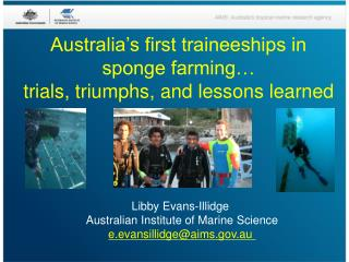 Australia's first traineeships in sponge farming… trials, triumphs, and lessons learned
