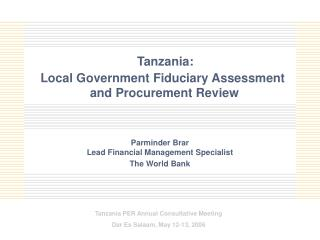 Tanzania:  Local Government Fiduciary Assessment  and Procurement Review