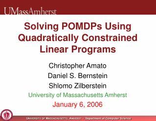 Solving POMDPs Using Quadratically Constrained Linear Programs